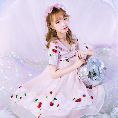鹿韵记改良汉服女装齐胸连衣裙樱桃印花甜美可爱汉元素日常夏