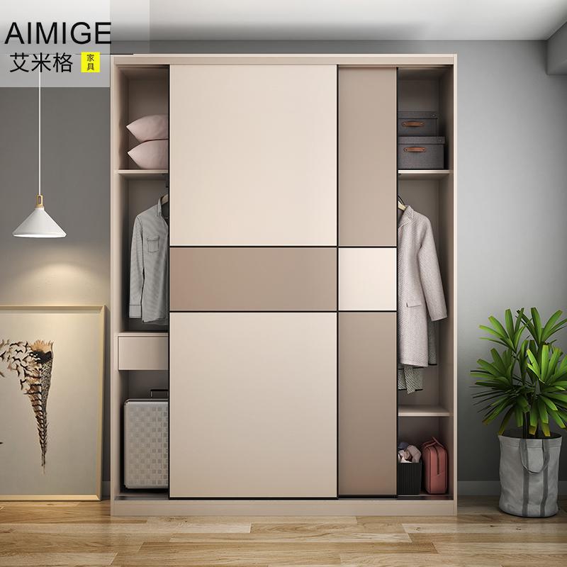 大衣柜门移门定制 简约欧式推拉门衣柜定做 实木环保壁橱柜滑门