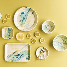 EDITOR01土耳其BORNN Marble柠檬黄系列珐琅餐盘马克杯小众现货