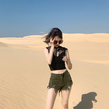 Zhuo Shilin SLIN Summer 2009 Hot Trousers Army Green Edge irregularly worn thin Jeans Shorts women