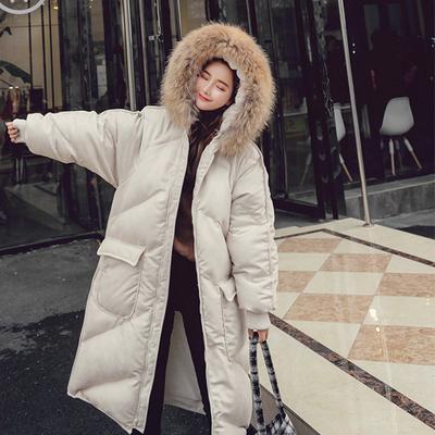 2017冬季新款超大貉子毛领棉服女中长款宽松大码过膝加厚棉衣外套