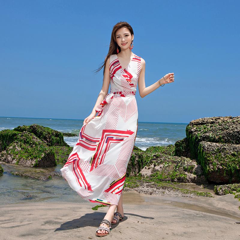 2019新款女装雪纺修身连衣裙热带海岛旅游度假沙滩裙高腰淑女长裙