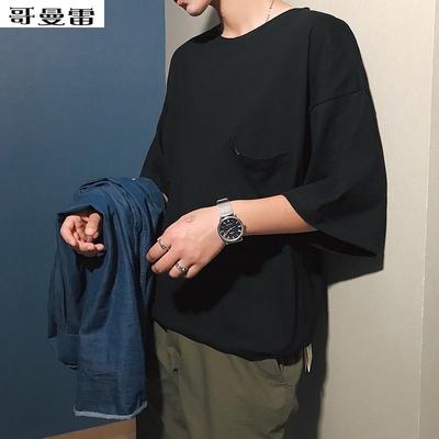 T 恤chic韩风kuan松潮男短袖男士速干小衫七分袖段袖八分袖夏季