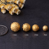 Gold 3D hard gold foot gold 999 like Xiangyun pearl gold six-word true words gold pearl transfer pearl road through the string beads