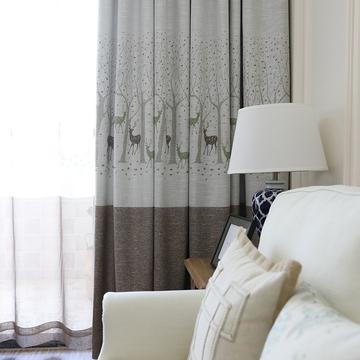 定制高档简约现代绿色棉麻窗帘成品客厅卧室阳台落地窗半遮光小鹿