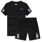 T恤跑步运动服春夏休闲大码 健身服运动装 男夏季速干短袖 运动套装