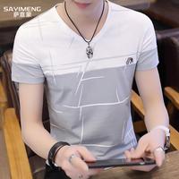 新款男士短袖卫衣夏季韩版修身半袖青少年圆领套头打底衫上衣服潮