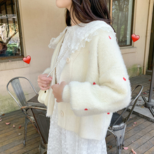 New sweater for autumn wear, women's mink-like wool knitted cardigan, net red, love embroidery, lazy breeze and loose sweater