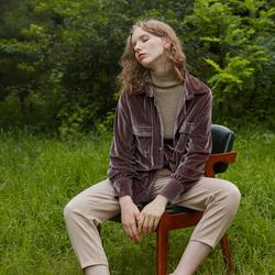 茉兰多2017秋装新款简约复古宽松BF风中长款丝绒长袖衬衫女S327