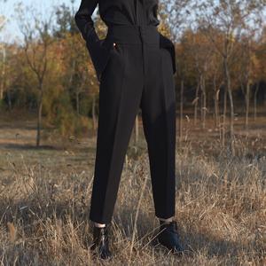 茉兰多2017秋冬新款欧美复古四扣高腰西裤女黑色修身长裤P518