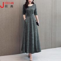 秋季新款大码胖mm连衣裙法式复古气质收腰到脚踝的长款打底裙子冬