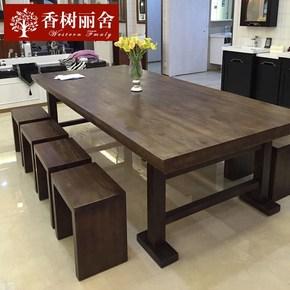 实木书桌 电脑桌复古长条桌长桌书法桌办公桌工作台洽谈桌美式全