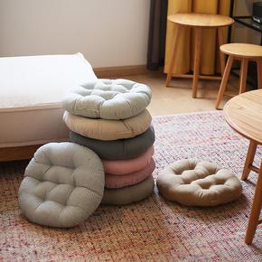 棉麻电脑餐椅垫榻榻米圆形坐垫办公室垫加厚学生板凳藤椅屁股座垫