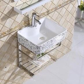 圆形洗漱小户型陶瓷台盆迷你台 小户型挂墙式套装镜柜浴室柜