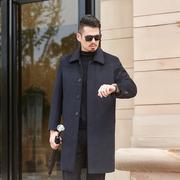 毛呢大衣男中长款秋冬款羊毛呢子外套中老年爸爸装冬季男士呢大衣