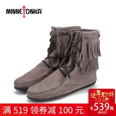 MINNETONKA/迷你唐卡冬季磨砂真皮流苏系带中筒靴子平底女靴621T