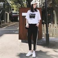 运动套装夏装时尚韩版夏天休闲卫衣两件套运动服女春秋2018新款潮