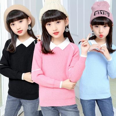 女童毛衣2018新款春秋女孩毛线衣外套中大童洋气衬衣领针织衫上衣