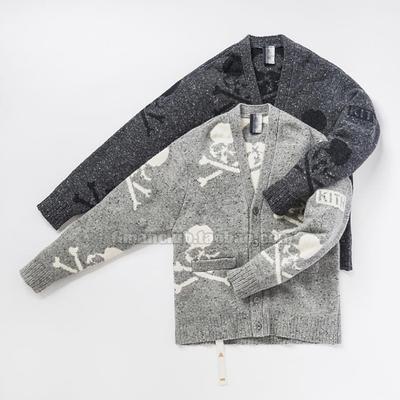 高街自主 MMJ合作款KITH骷髅头提花纯羊毛混色针织衫毛衣长袖开衫
