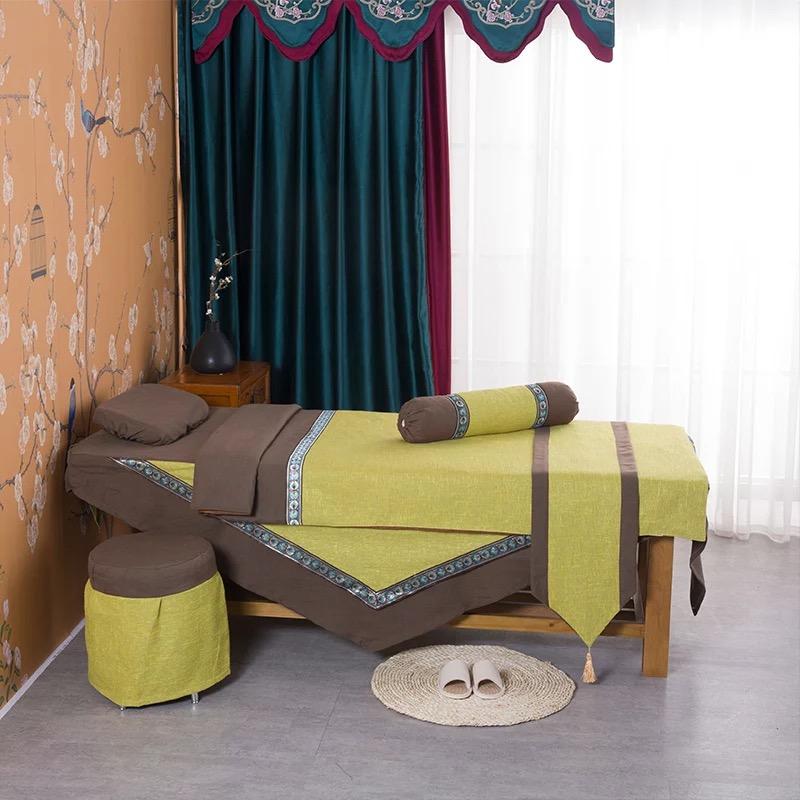 特色棉麻美容床罩四件套美容SPA床品可定做