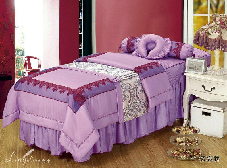 天然莫代尔面料美容床罩四件套 美容院专用床罩纯色江浙沪皖包邮