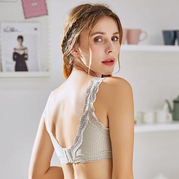 睡眠内衣女无钢圈背心式纯棉里料超薄款蕾丝性感胸罩透气美背文胸