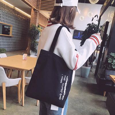 帆布包女单肩ins帆布袋男文艺黑白色学生书袋韩版原宿ulzzang夏季
