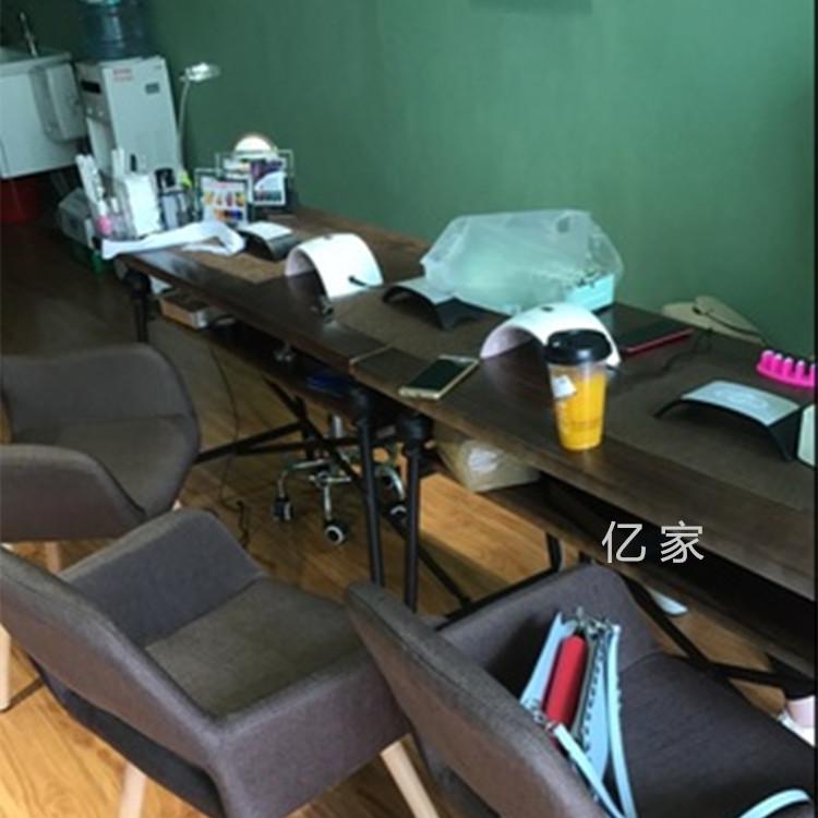 巧艺美式个性复古高档美甲桌椅美容桌铁艺实木双层单双三人修甲台