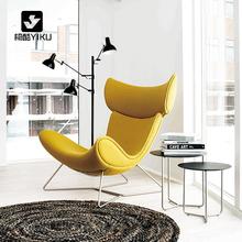 北欧单人沙发椅 简约现代设计师创意客厅样板房休闲铁艺真皮椅子
