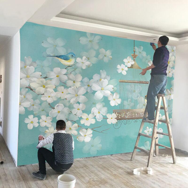 壁画 8d 客厅影视墙纸美式田园 3D 电视背景墙壁纸简约现代 5D 北欧式