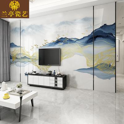 新中式山水水墨后现代金箔线条鸟电视背景墙瓷砖3D高温微晶石定制