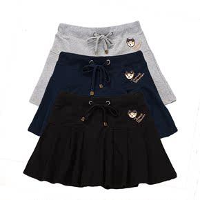 夏季裙子新款韩版休闲大码小熊百搭女半身裙裤运动百褶裙学生短裙