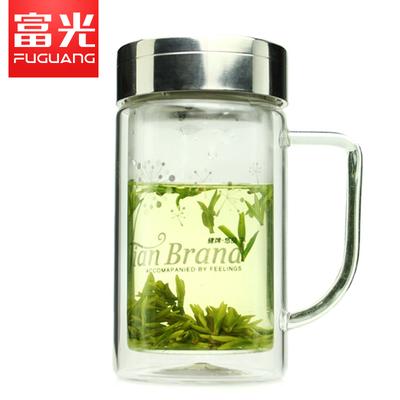 富光正品 健牌双层玻璃杯子701B-320 320ml刻花滤网玻璃 泡茶水杯