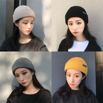 Korean version of Pure color knitted wool hat womens autumn winter ins Chao ya ruffian casual hundred caps landlord melon hat Male