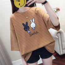 纯棉打底衫夏装韩版可爱兔子条纹上衣胖MM特大码宽松短袖T恤女