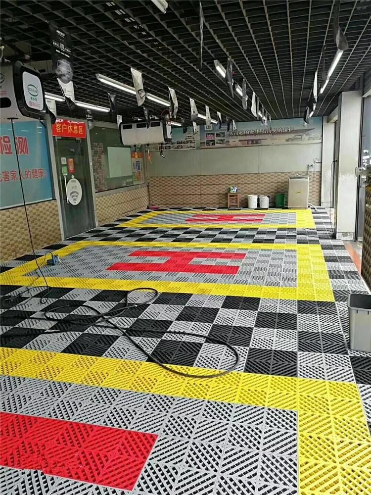 防水卡扣式网格板洗车房家用可拼接塑胶耐磨镂空分子拼装格栅地板