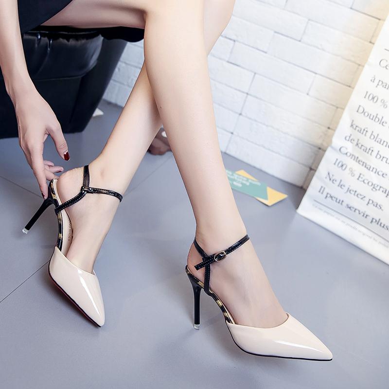 凉鞋女夏季2019新款韩版一字扣尖头细跟小清新高跟鞋包头百搭女鞋