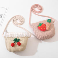 Children's bag Princess Messenger bag cute 5-7 years old mini children straw bag girls baby diagonal small bag