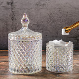 Glamorous Color European crystal glass candy can fruit creative sugar tank storage tank with cover seasoning to collect snack tray