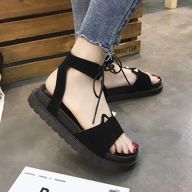 凉鞋女ins潮仙女风2019夏季新款韩版学生百搭厚底绑带罗马女鞋子