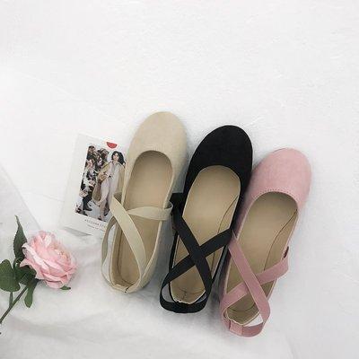 欧美夏弹力芭蕾舞平底鞋交叉绑带圆头绒面瓢鞋软底单鞋女孕妇鞋