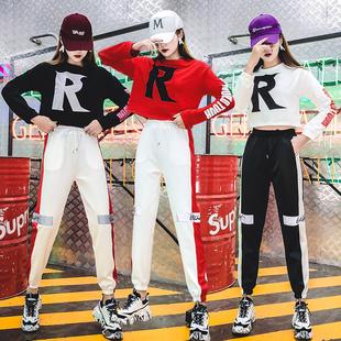 2018新款学生女现代爵士舞蹈服嘻哈街舞jazz裤子跳舞表演出服套装