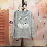 Autumn and winter flannel coral fleece thick warm female pajamas top home leisure sets of pajamas tops long sleeves