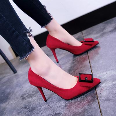 2018春季新款女鞋时尚红色韩版绒面尖头高跟鞋细跟小码浅口单鞋女