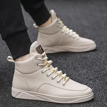 2018 New High-Upper Shoes Men's Korean Edition Fashion Hundred Sets of Leisure Men's Shoes with Suede Cotton Shoes Mesh Red Plate Shoes Winter Fashion Shoes