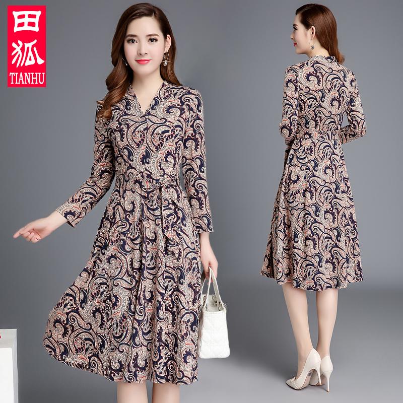 中老年女装长袖连衣裙修身显瘦2018秋季新款中年妈妈长款印花裙子
