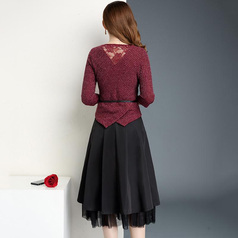 中年妇女秋装两件套40岁50妈妈裙子套装优雅气质中老年过膝连衣裙