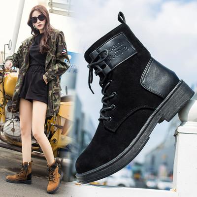 马丁靴女磨砂英伦风平底短靴系带欧美百搭学生冬加绒复古高帮鞋子