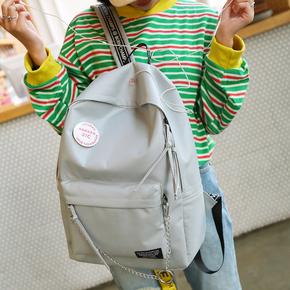 书包女韩版原宿ulzzang高中学生校园双肩包简约帆布耳机旅行背包