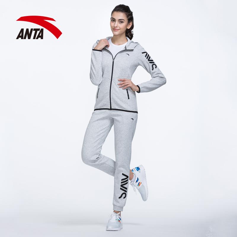安踏运动套装女装2018秋季休闲运动服 跑步服正品套装时尚卫衣女